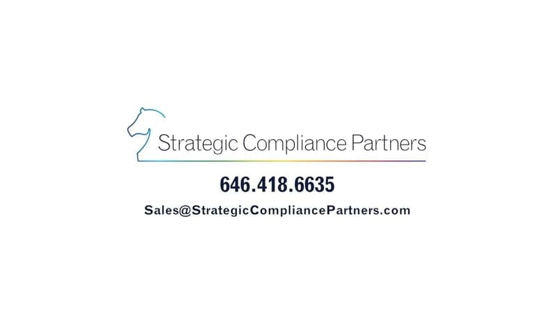 Logo for Strategic Compliance Partners with phone and email contact information.